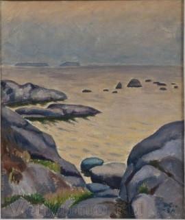 Marcus Collin, Rantamaisema iltavalossa, Маркус Коллин, Скалистый берег, 1927