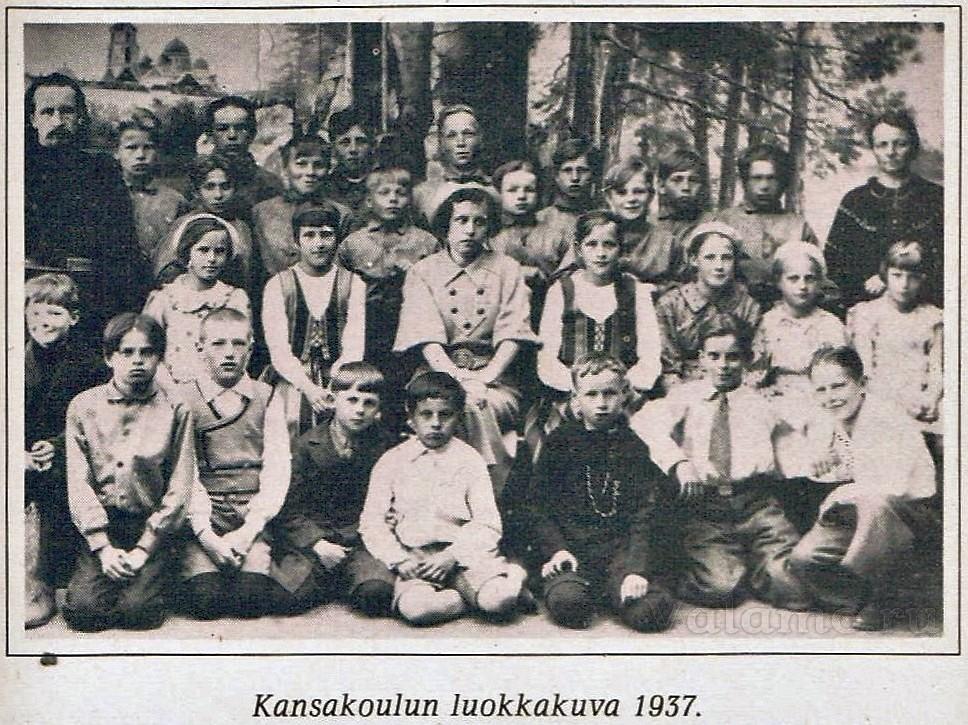 Народная школа, фотография класса. 1937 год. ©Е.Salakka. Lapsuuteni vanha Valamo. 1980.
