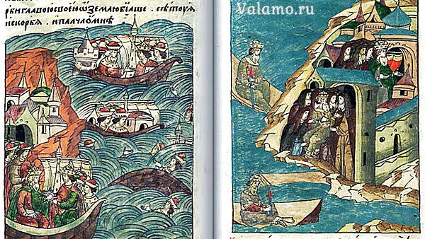 Шведский король Магнус, спасенный монахами. Фрагмент лицевого летописного свода.