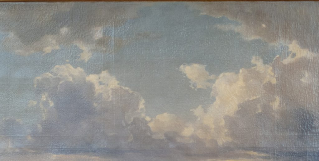 Облака. Фрагмент. И. Шишкин. Вид Валаамского монастыря с южной стороны. 1859