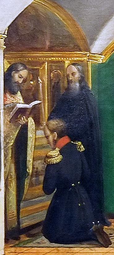 П. М. Комашев. Император Александр I на молебне в церкви Преподобных на Валааме 1 августа 1819 года. 1854. Фрагмент.