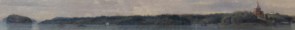 Слева от Монастырской бухты.Фр.Шишкин.Вид Валаамского монастыря с южной стороны.1859