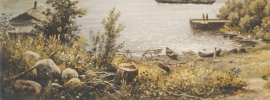 u vody.fragment iz i. i. shishkin. nikonovskaya buxta. valaam. 1858