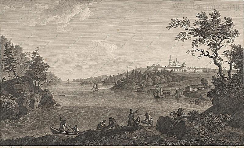 Сергеев Г.С.Вид на Валаамский монастырь. (Литография Ческова)