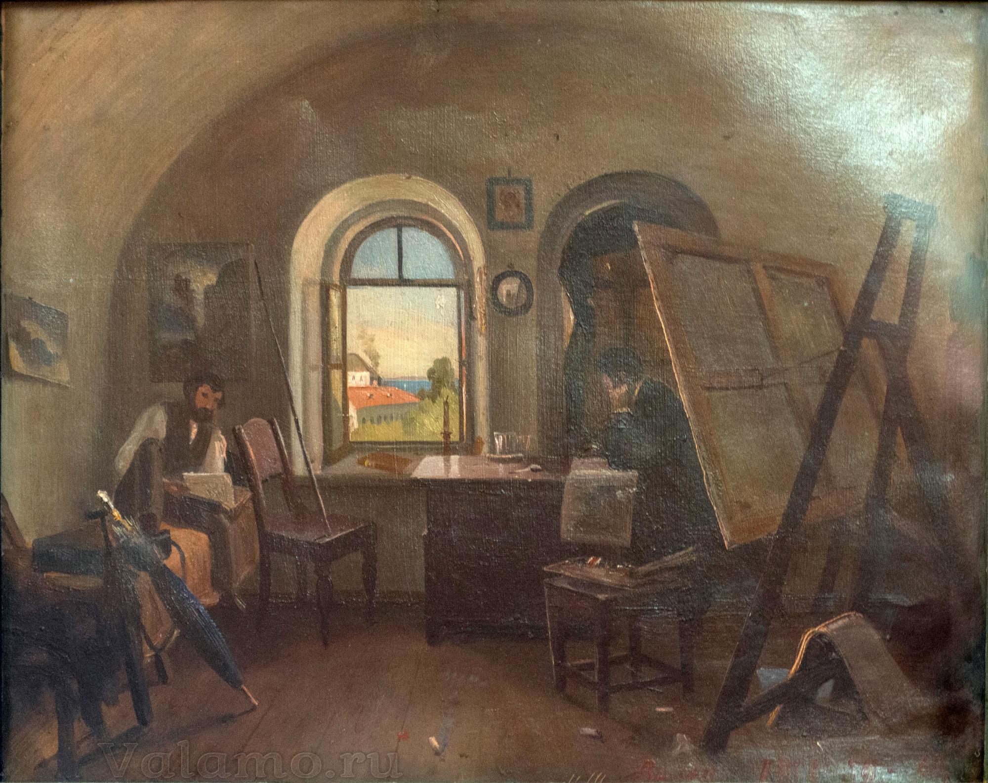И.И.Шишкин. И.И.Шишкин и А.В Гине в мастерской на острове Валааме. 1860. Фото И. Сазеева