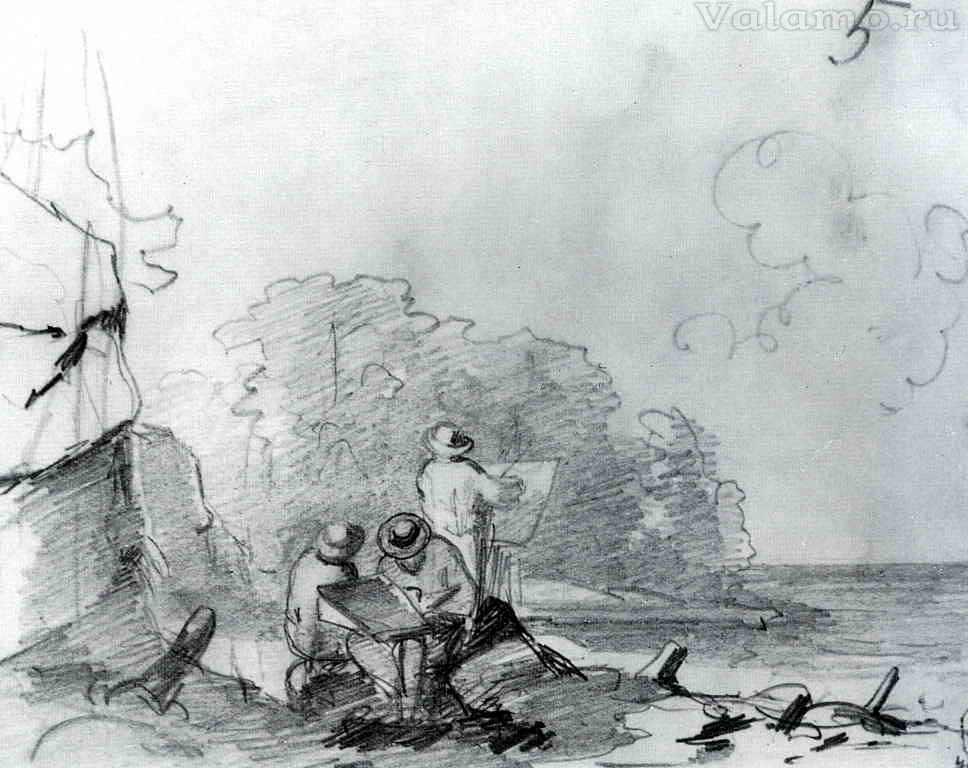 Васильев Федор Александрович. Художники, работающие на берегу озера. 1867