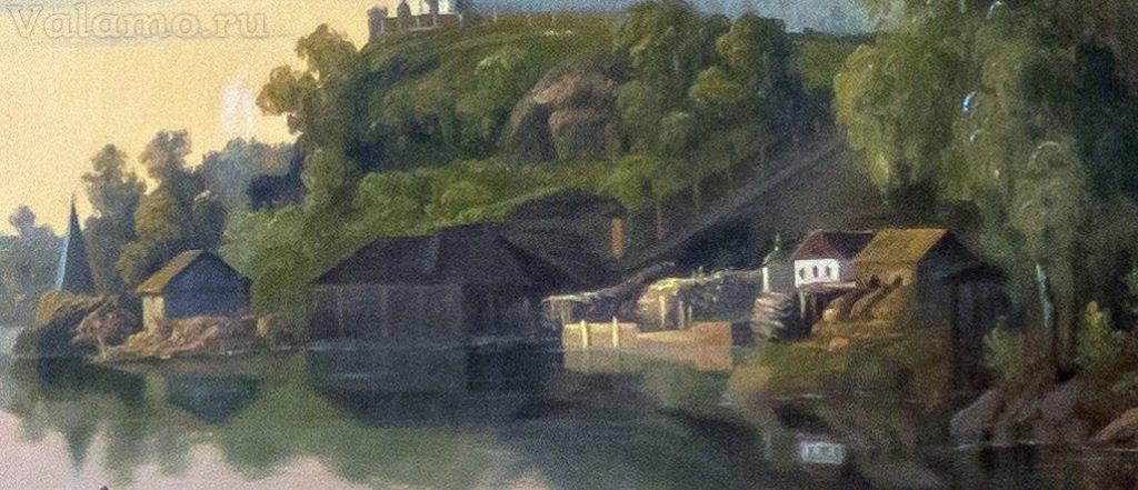 Причал(фрагм.) Давыдов И. Вид Валаамского монастыря с Ю-З стороны. 1853